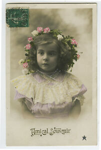 c 1910 French Child Children LITTLE GIRL tinted photo postcard