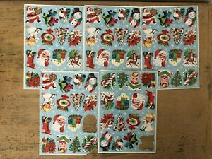 Vintage-Lick-And-Stick-Christmas-Stickers-5-Sheets-Missing-2-Stickers