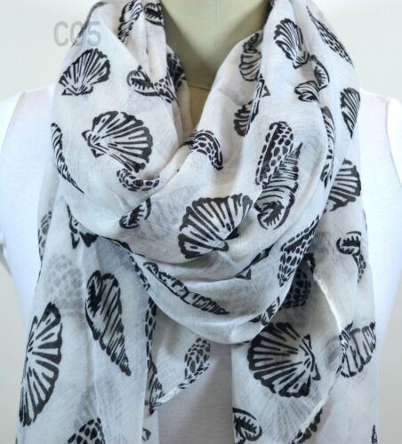 Sea Life Summer Shawl scarf Coral Mint Black White Sea life light woven scarf