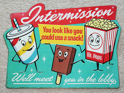 DRIVE IN MOVIE pop corn Intermission Theater Cinema Vintage Style Signs coke tv