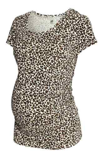 Beige et Noir léopard imprimé animal maternité T-Shirt à Coupe taille 6 To 20
