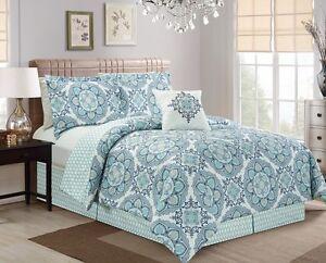 Nadia 5pc Blue Gray White Mandala Medallion Reversible Comforter Set, Queen