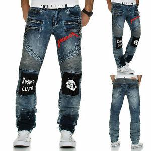 KOSMO-Lupo-Uomo-Jeans-Pantaloni-Denim-JAPAN-STYLE-DOUBLE-Cargo-Clubwear-Used-Blu