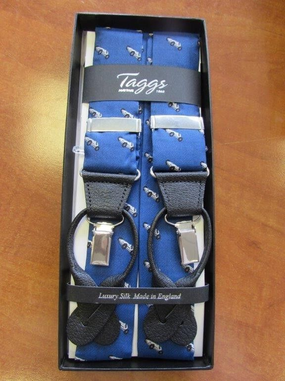 RACING CAR ROYAL BLUE WITH SILVER CAR LUXURY 2 IN 1 SILK BRACES MADE IN ENGLAND