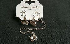 Tibetan silver cute cat/ purring kitten cat lovers necklace &earrings set