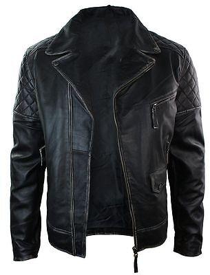 Men/'s Real Lambskin 100/% Leather Jacket Biker Black Premium Belted Leather Coat