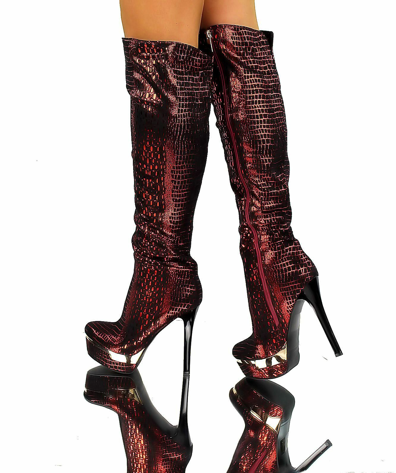 Overknee stiefel red black Sexy High Heels Party Boots 35 41