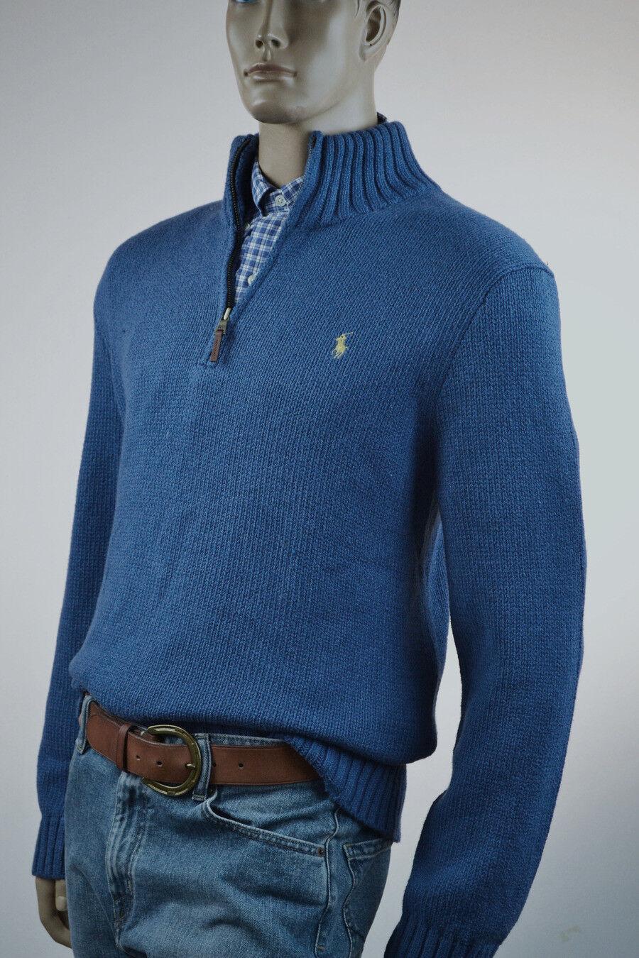 Ralph Lauren High-Twist Cotton Shale Blau Half-Zip Sweater Gelb Pony -NWT