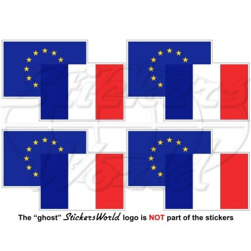 EUROPEAN UNION-FRANCE Flag Pair EU-FR Europe-French 50mm Stickers Decals x4