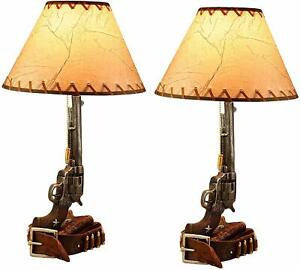 """Ebros Western Revolver Bedside Table Lamp with Shade 20.5""""Tall (Set of 2)"""