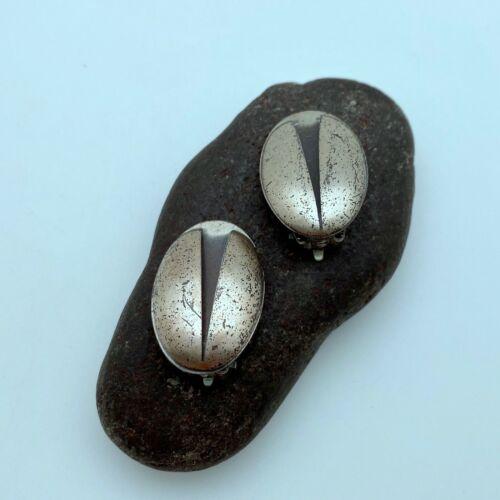1950s Sterling Modern Style Oval Clip On Earrings