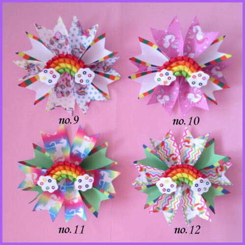 "50 Girl 3.5/"" Fairy Hair Bow Clip C Unicorn Rainbow  L.O.L Doll Surprise Baby"