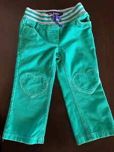 c9d6e35045d0 Mini Boden girls 3 green gray heart pocket patch long cord pants | eBay