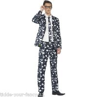 Mens Skeleton Stand Out Suit Smart Teens Fancy Dress Halloween Fun Party Skull