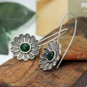 Flower-Earrings-925-Silver-Gems-Dangle-Drop-Hook-Earrings-For-Women-NEW