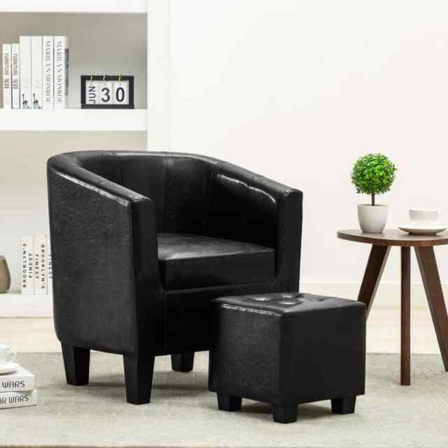vidaXL Sessel mit Fußhocker schwarz Kunstleder (248057)