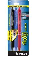1 Set Pilot 31467 Frixion Clicker Erasable Pen Black, Blue & Red Gel Ink 3 Set