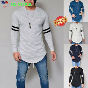 Men-039-s-Slim-Fit-O-Neck-Long-Sleeve-Muscle-Tee-T-shirts-Casual-Striped-Tops-Blouse