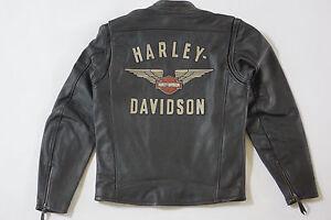 Harley-davidson-hombre-top-alas-y-escudo-negro-Chaqueta-de-cuero-98058-13vm-M