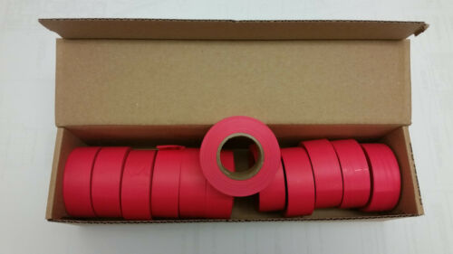Red Glo Box of 12 rolls of Flagging tape 30mm wide x 46m long per roll