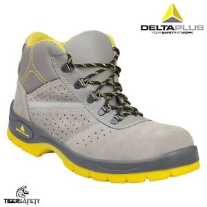 8fa84816f38 Details about Delta Plus Tangara S1P SRC Grey Suede Hi Vis Sole Steel Toe  Cap Safety Boots PPE