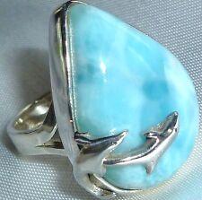 ECHTER NATUR LARIMAR EXCLUSIV Ring XL *28x22mm* 925 Silber Gr19,2 Delfin 14Gramm