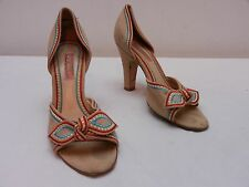 Womens 7.5 BETSEY JOHNSON Beige Tipi Colored Embroidered Peep Toe High Heels