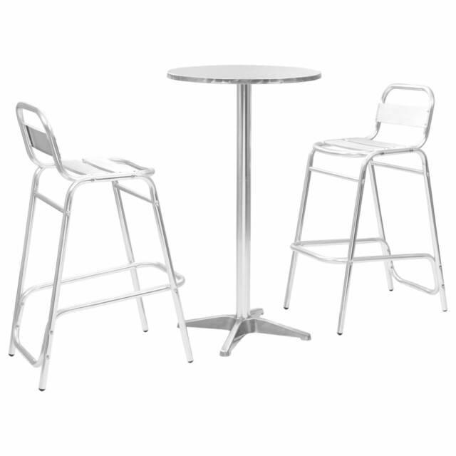 Sgabelli E Tavoli Alluminio.Vidaxl Set Da Bar 3 Pz Tavolo Rotondo Argento In Alluminio Sgabelli Sedie Alte