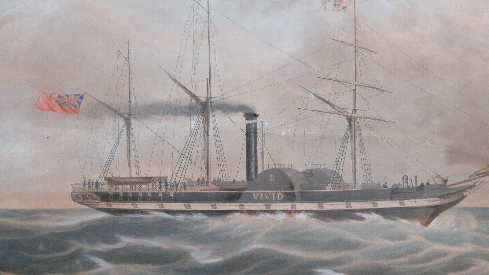 1841 hand-colGoldt Aquatint print the General Steam Navigation Company