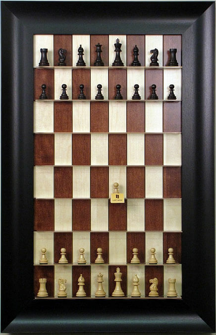 Straight Up Chess Board - rosso Maple with 3 1/2  Wide Scoop Frame