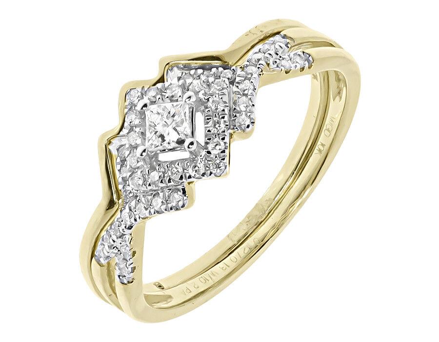 10k Yellow gold Ladies Princess Diamond Solitaire Wedding Bridal Ring Set 0.25ct