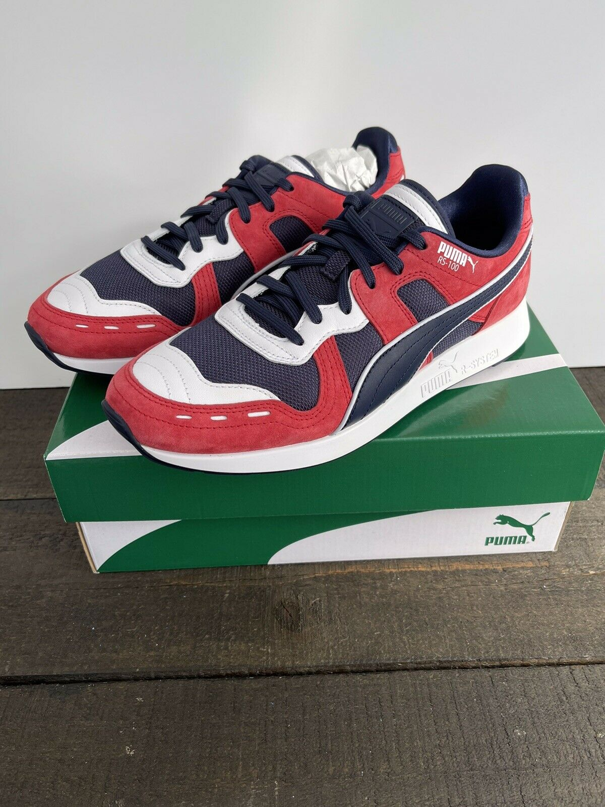 Size- 7.5 Men's Puma Rs-100 SNbk Peacoat- Red- Puma White Sneaker R- System