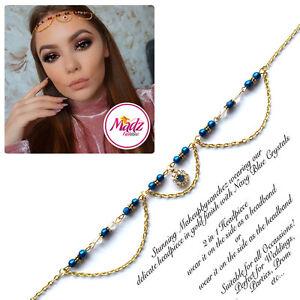 Head Hair Piece Indian Gold Navy Blue Costume Jewellery Matha Patti Scarf Hijab Jewelry & Watches Hair & Head Jewelry