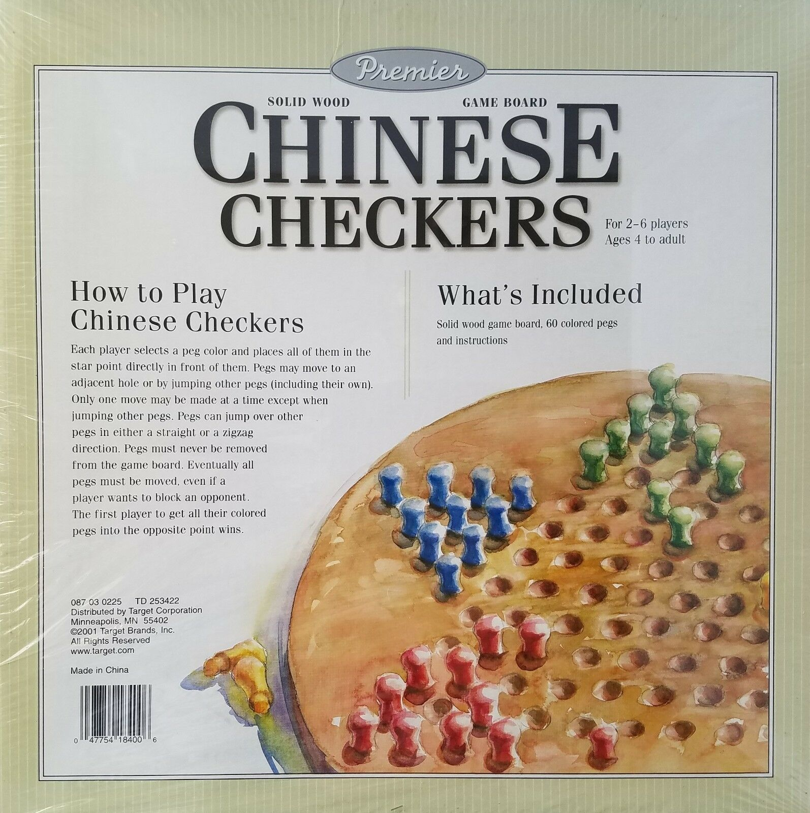 Vintage 1987 Pavilion Solid Wood Chinese Checkers Game Set