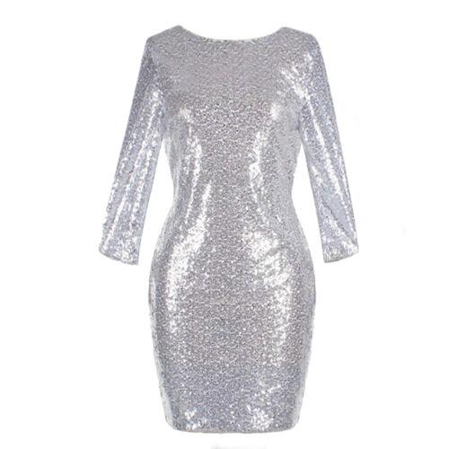 Women Sequin Shiny  Mini Dress 3//4 Sleeve Cocktail Evening Party Bodcon Dresses