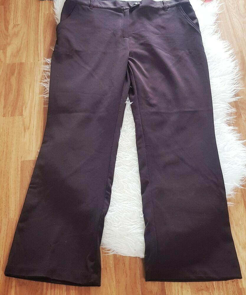 Anna Rose Femme Pantalon Bnwt Marron Taille 18 Court Élastique Droite