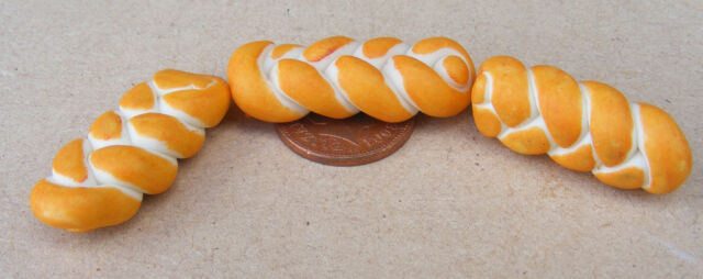 1:12 Hand Made Loaves Of Bread (2) (Plaited) Dolls House Miniature Food Bakery