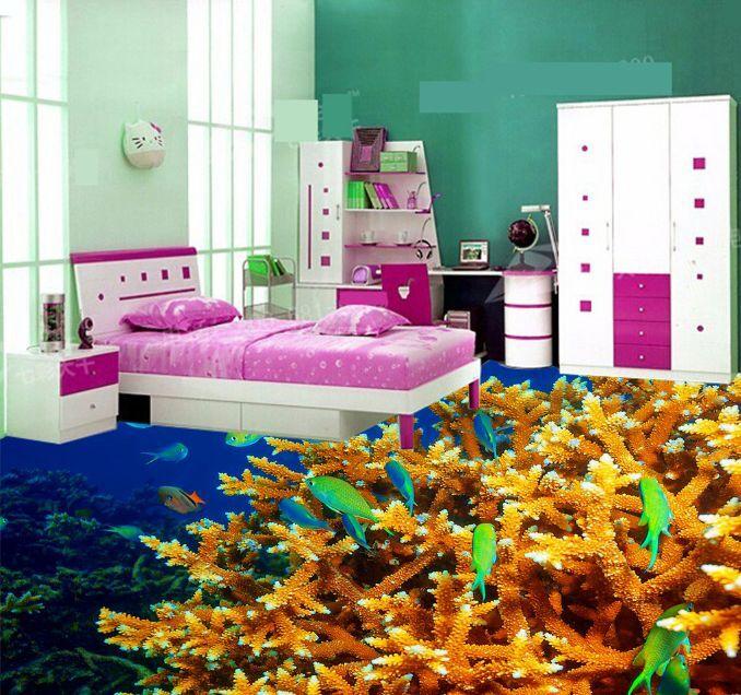 3D oro Arrecife De Coral De Papel Pintado Mural Parojo de fondo del mar impresión Calcomanía 5D AJ Wallpaper