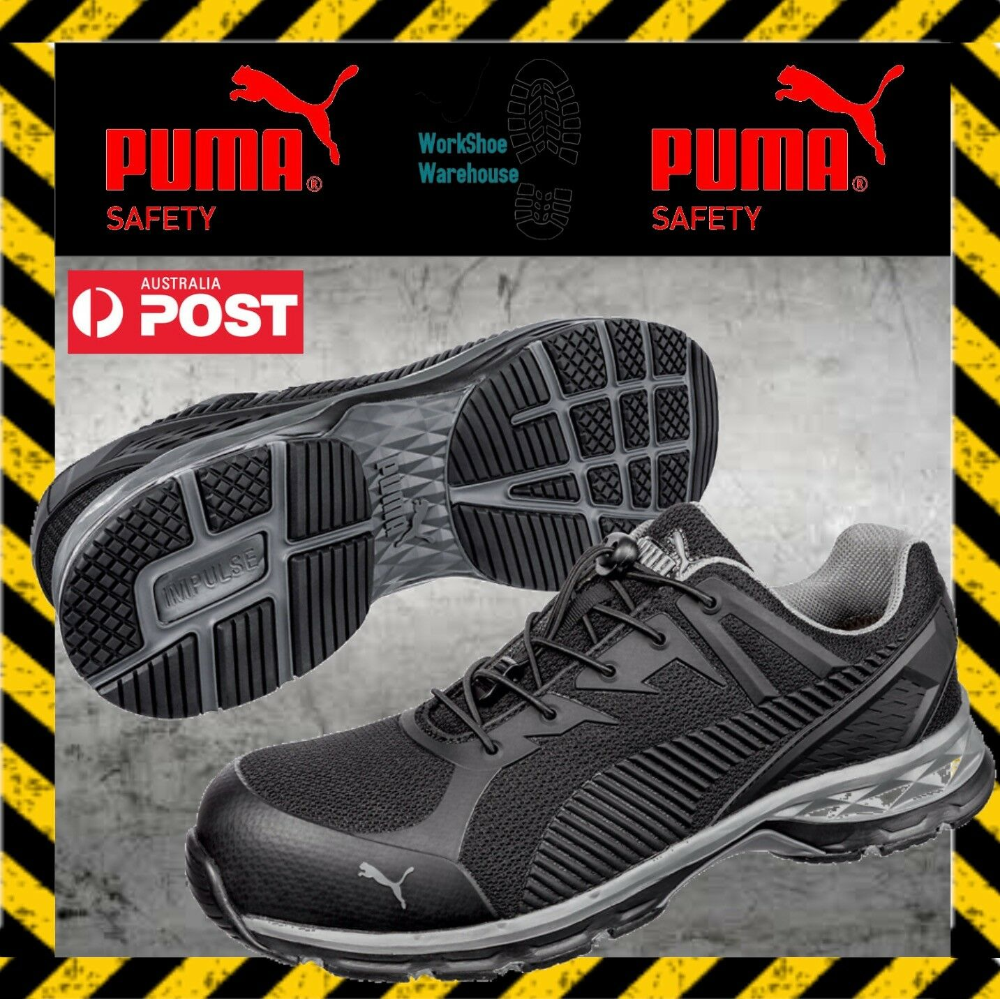 Puma Relay Black 643837 Composite Toe Cap Anti Fatigue Safety Work Jogger