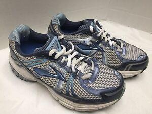 Women-s-Brooks-Adrenaline-GTS-12-Running-Shoes-Navy-Aqua-Silver-Size-7W-LOOK