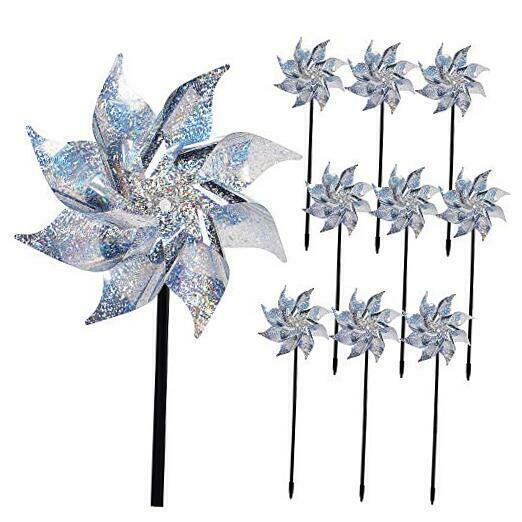 10 Pack Reflective Pinwheels with Stakes, Extra Sparkly Pin Wheel for Silver