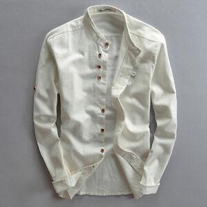 Men-039-s-Shirt-Cotton-Linen-Casual-Slim-Fit-Stand-Collar-Long-Sleeve-Retro-Tops