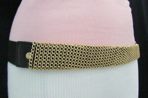 Women Black Waisted Stretch Belt Hip High Waist Gold Metal Chain Long Buckle S M