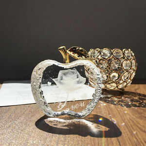 Clear-Glass-Crystal-Apple-Shape-Engraved-Rose-Figurine-Ornament-Collectible-Gift