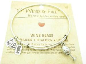 Wind & Fire 3D Wine Glass Charm Silver Wire Bangle Stackable