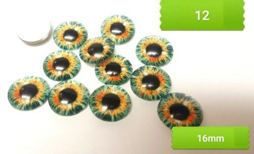 Ojo de vidrio CABUCHONES 12-16MM-CAT//Dragon-Flatback//Joyería//Gemas-ojos de cabujón