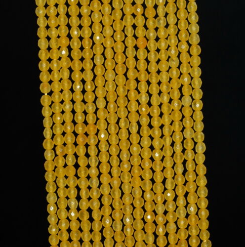 """2MM SUNFLOWER JADE GEMSTONE YELLOW FACETED ROUND LOOSE BEADS 15/"""""""