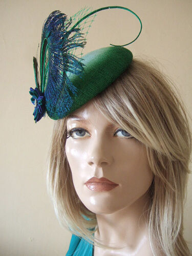 Peacock Mn176 Kanzashi Green Grande Mint Ombre cappello Fascinator Emerald Tsumami qxvwngT1