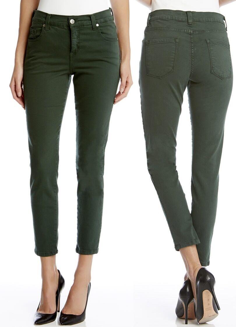 Karen Kane 3L82104 Forest Green Zuma Crop Stretch Denim Skinny Jeans -