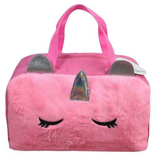 """Unicorn Furry Duffle Bag 17/"""" inches New with Tag Perfect for Gift Licensed Item"""